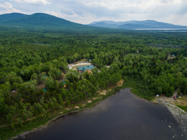 A stunning aerial view of the Medawisla lodge and camp.