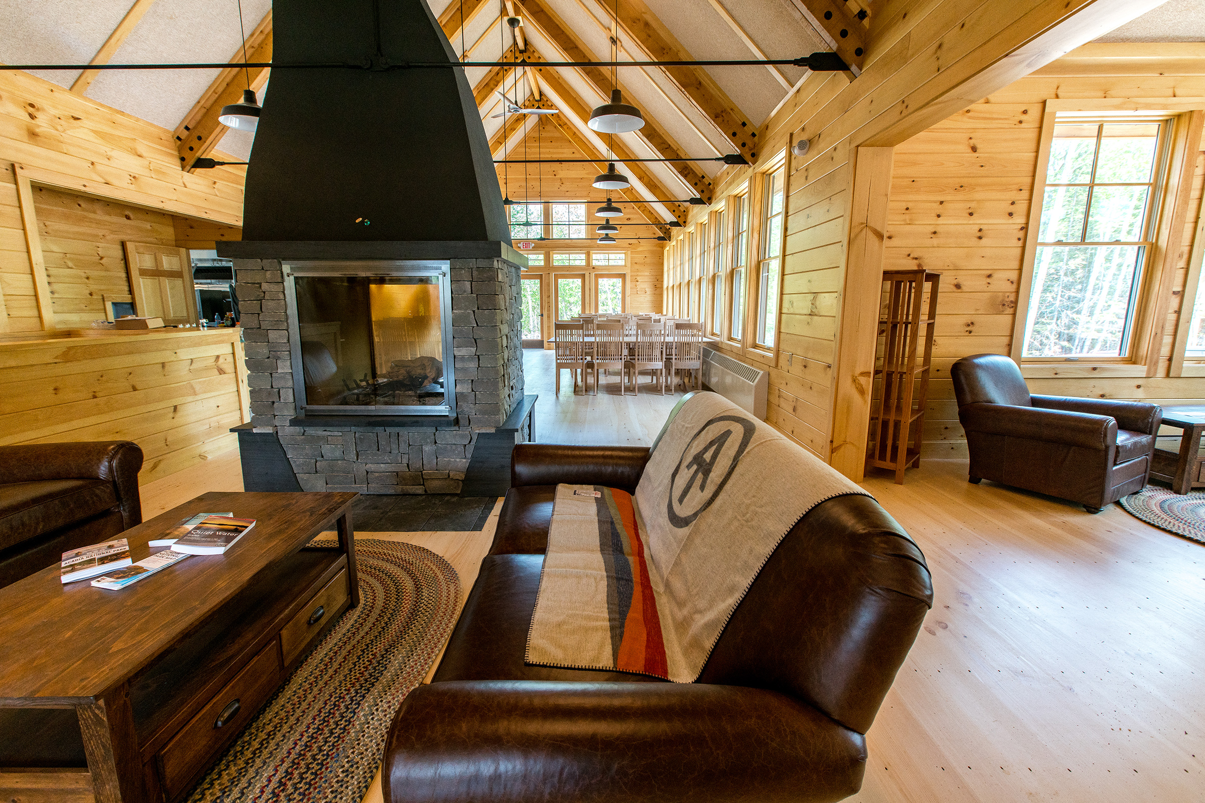 The interior common area of Meawisla Lodge.